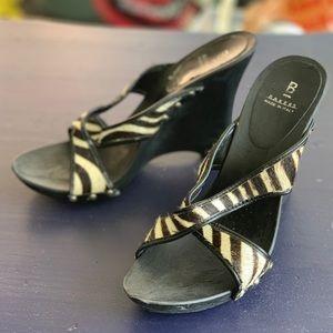 Bakers Zebra Print Pony Hair Leather Wedge Heels